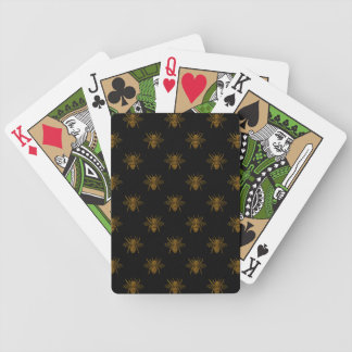 Gold Metallic Foil Bees on Black Bicycle Playing Cards