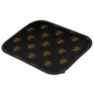 Gold Metallic Foil Bees on Black Car Mat