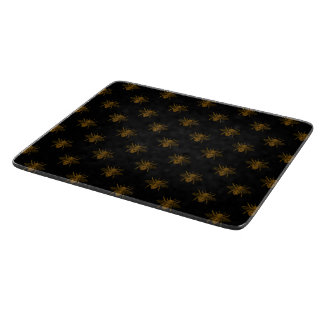 Gold Metallic Foil Bees on Black Cutting Board