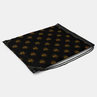 Gold Metallic Foil Bees on Black Drawstring Bag