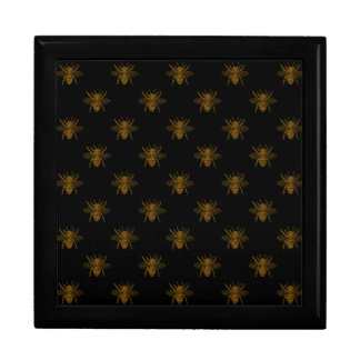 Gold Metallic Foil Bees on Black Gift Box