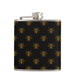 Gold Metallic Foil Bees on Black Hip Flask