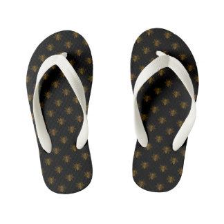 Gold Metallic Foil Bees on Black Kid's Flip Flops