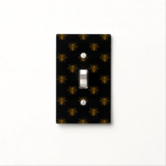 Gold Metallic Foil Bees on Black Light Switch Cover