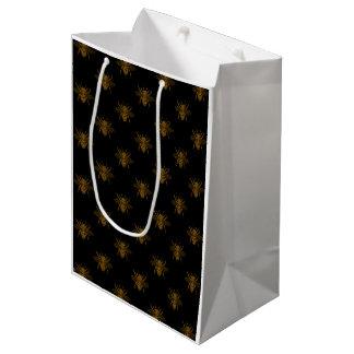 Gold Metallic Foil Bees on Black Medium Gift Bag