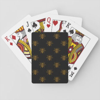 Gold Metallic Foil Bees on Black Playing Cards