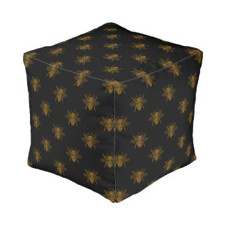 Gold Metallic Foil Bees on Black Pouf