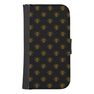 Gold Metallic Foil Bees on Black Samsung S4 Wallet Case