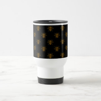 Gold Metallic Foil Bees on Black Travel Mug