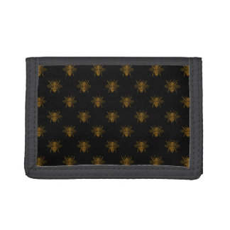Gold Metallic Foil Bees on Black Trifold Wallets
