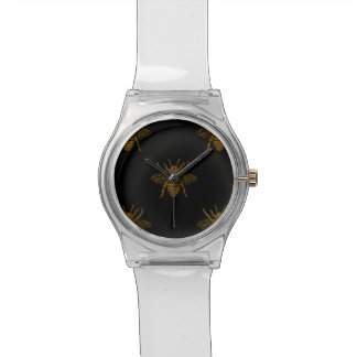 Gold Metallic Foil Bees on Black Watch