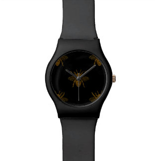 Gold Metallic Foil Bees on Black Watch