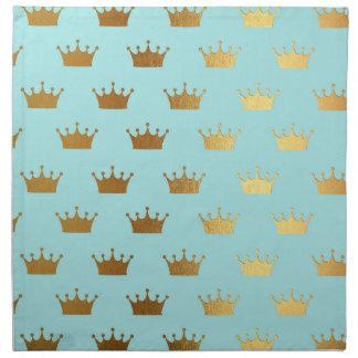 Gold Metallic Foil Crown Royal Teal Aqua Modern Napkin