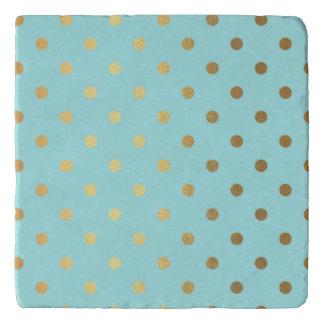 Gold Metallic Foil Polka Dots Teal Aqua Modern Trivet