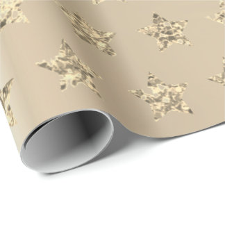 Gold Metallic Foxier Ivory Glitter VIP Stars Wrapping Paper