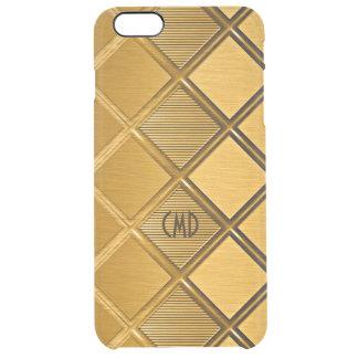 Gold Metallic Geometric Pattern Clear iPhone 6 Plus Case