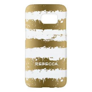 Gold Metallic Grunge Stripes Samsung Galaxy S7 Case