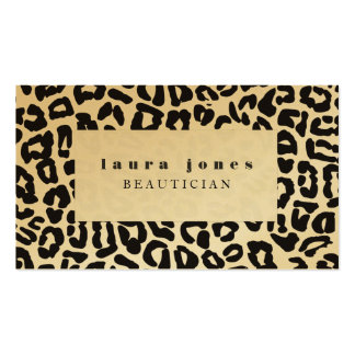 Gold Metallic Leopard Print Fashion Template Pack Of Standard Business Cards