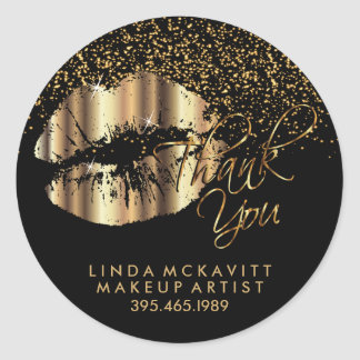 Gold Metallic Lipstick - Thank You Classic Round Sticker