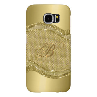 Gold Metallic Look With Diamonds Pattern Samsung Galaxy S6 Cases
