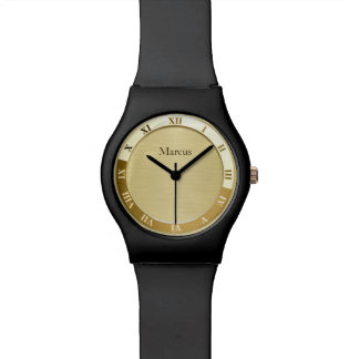 Gold Metallic Name Template Wrist Watches