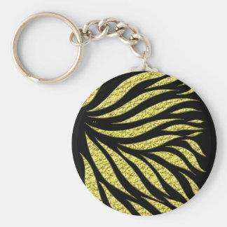 Gold Metallic Pattern On Black Keychain