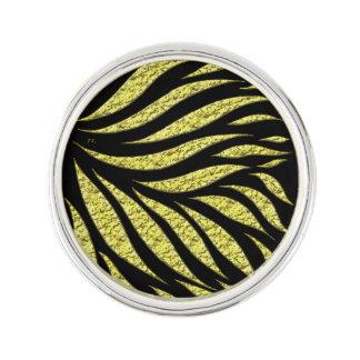 Gold Metallic Pattern On Black Lapel Pin
