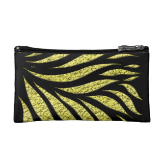 Gold Metallic Pattern On Black Makeup Bag