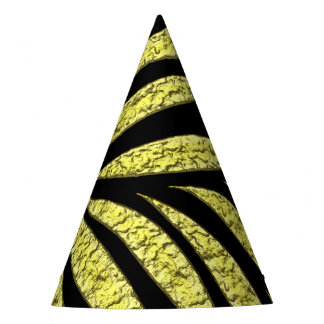 Gold Metallic Pattern On Black Party Hat