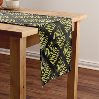 Gold Metallic Pattern On Black Short Table Runner