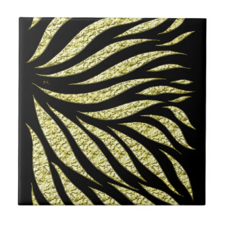 Gold Metallic Pattern On Black Tile