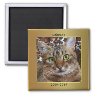 Gold Metallic Photo Frame Cat Memorial Magnet