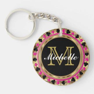 Gold Metallic Pink Poker Design   Monogram Double-Sided Round Acrylic Keychain