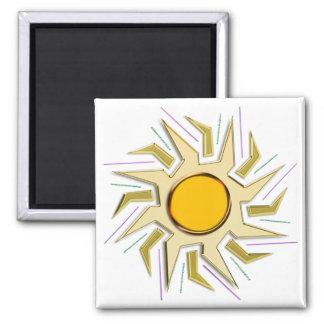 Gold Metallic Super Sun Sign Square Magnet