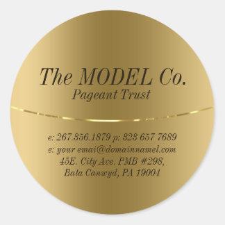Gold Metallic Texture Print Round Sticker