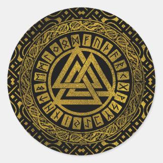 Gold  Metallic Valknut Symbol Classic Round Sticker