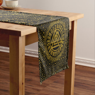 Gold  Metallic Valknut Symbol on Celtic Pattern Short Table Runner