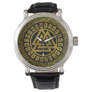 Gold  Metallic Valknut Symbol on Celtic Pattern Watch