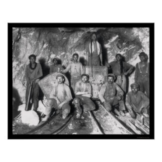 Gold Miners in South Africa 1904 Poster