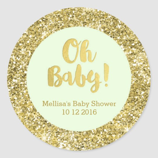 Gold Mint Baby Shower Oh Baby Favour Sticker