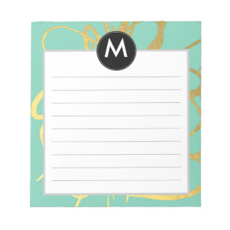 Gold & Mint Brushstrokes Monogram Initial Notepad
