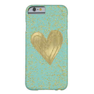 Gold Mint Confetti Heart Barely There iPhone 6 Case
