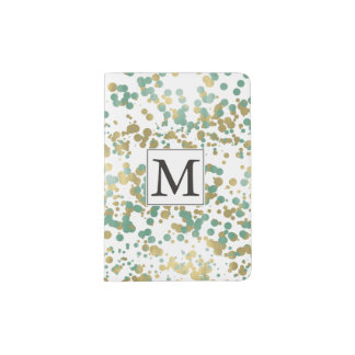 Gold Mint Confetti Monogram Passport Holder