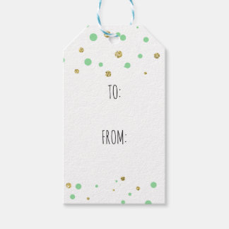 Gold Mint Confetti Pack Of Gift Tags