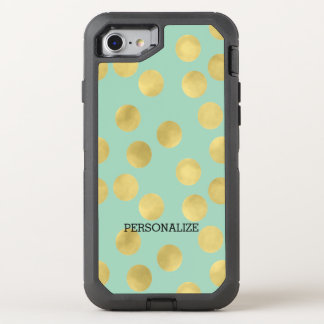 Gold Mint Dots OtterBox Defender iPhone 7 Case