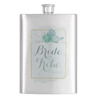 Gold Mint Floral Watercolor Wedding Bride Tribe Hip Flask