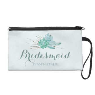Gold Mint Floral Watercolor Wedding Bridesmaid Wristlet
