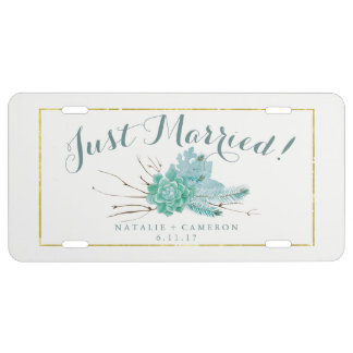 Gold Mint Floral Watercolor Wedding Just Married License Plate