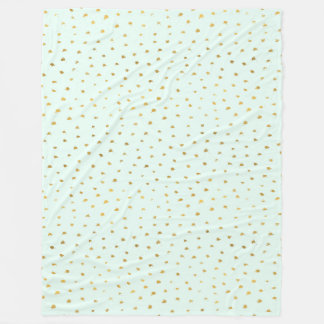 Gold Mint Glam Dot Chic Fleece Blanket