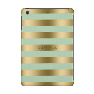 Gold & Mint-Green Stripes Geometric Pattern iPad Mini Cover
